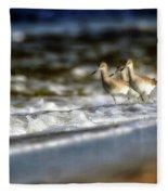 Willets In The Waves Fleece Blanket