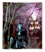William Seward Statue And Empire State Bldg With Trees Fleece Blanket