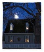 Williamsburg House In Moonlight Fleece Blanket
