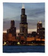Willis Tower At Dusk Aka Sears Tower Fleece Blanket