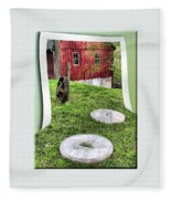 Williston Mill And Grist Wheels Fleece Blanket
