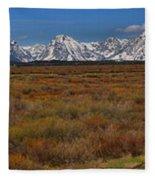 Willow Flats At Grand Teton Panorama Fleece Blanket