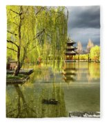 Willow Tree In Liiang China II Fleece Blanket