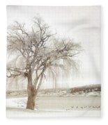 Willow Tree In Winter Fleece Blanket