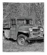 Willys Jeep Pickup Truck Monochrome Fleece Blanket