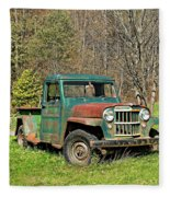 Willys Jeep Pickup Truck Fleece Blanket