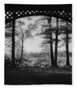 Wilson Pond Framed In Black And White Fleece Blanket
