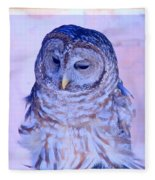 Wind Blown Owl  Fleece Blanket