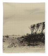 Wind Grown Beach Trees Fleece Blanket