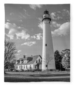 Wind Point Lighthouse And  Old Coast Guard Keepers Quarters  3 Fleece Blanket