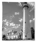 Wind Point Lighthouse And  Old Coast Guard Keepers Quarters.   Black And White Fleece Blanket