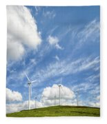 Wind Turbines On A Hill Under A Blue Sky Fleece Blanket