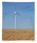 Wind Turbines On Wheat Field Summer Season Fleece Blanket