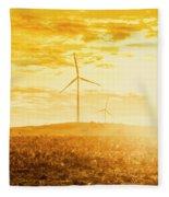 Windfarm Sunset Fleece Blanket
