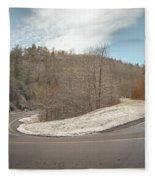 Winding Country Road In Winter Fleece Blanket