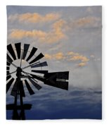 Windmill And Cloud Bank At Sunset Fleece Blanket