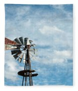 Windmill And Clouds Fleece Blanket