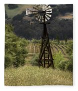 Windmill And Vineyards Fleece Blanket
