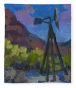 Windmill At Keys Ranch Joshua Tree Fleece Blanket