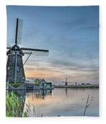 Windmill At Kinderdijk Fleece Blanket
