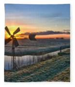 Windmill At Sunrise Fleece Blanket
