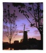 Windmill At Sunset Fleece Blanket