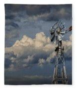 Windmill Energy On Old Prairie Farm Fleece Blanket
