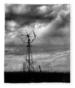 Windmill Foreground A Dramatic Sky Baw Fleece Blanket