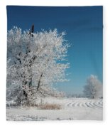 Windmill In The Frost Fleece Blanket