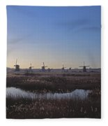 Windmills At Kinderdijk In Wintersun Fleece Blanket