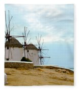 Windmills Of Mykonos I Fleece Blanket