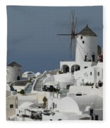 Windmills Of Santorini Fleece Blanket