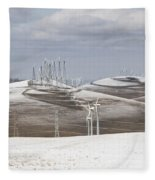 Windmils In Snow Fleece Blanket