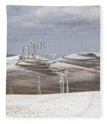 Windmils In Snow Fleece Blanket