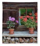 Window And Geraniums Fleece Blanket