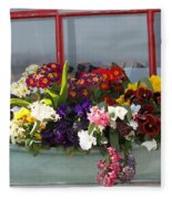 Window Flowers Fleece Blanket