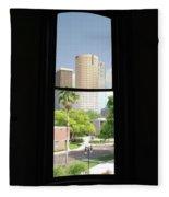Window Of Downtown Fleece Blanket