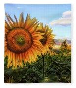 Window To The Sunflower Fields Oil Painting Fleece Blanket