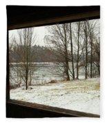 Window To Winter Fleece Blanket