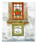 Window With Flower Pot Fleece Blanket