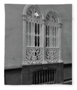 Windows At Cadiz Bw Fleece Blanket