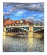 Windsor Bridge River Thames Fleece Blanket