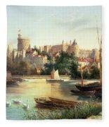 Windsor From The Thames   Fleece Blanket