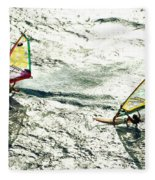 Windsurfing Silver Waters Fleece Blanket