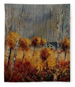 Windy Autumn Landscape  Fleece Blanket