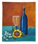 Wine And Flowers Fleece Blanket