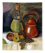 Wine And Fruit Fleece Blanket