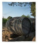 Wine Barrels At Vineyard Fleece Blanket