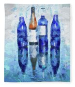 Wine Bottles Reflection  Fleece Blanket