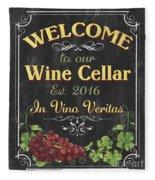 Wine Cellar Sign 1 Fleece Blanket